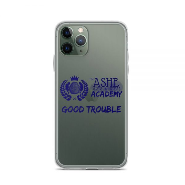 iPhone 11 Pro Blue Good Trouble Clear Phone Case on Green iPhone 11 Pro The Ashe Academy Store