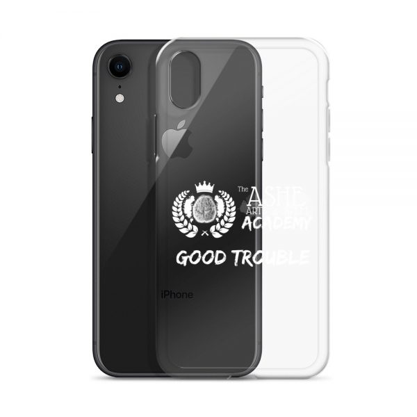 iPhone XR White Good Trouble Clear Phone Case standing in front of the Black iPhone XR The Ashe Academy Store