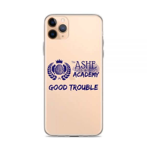 iPhone 11 Pro Max Blue Good Trouble Clear Phone Case on Rose Gold iPhone 11 Pro Max The Ashe Academy Store