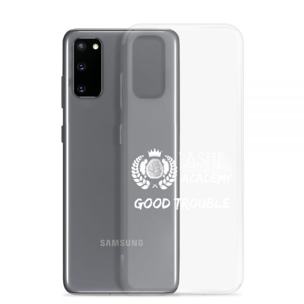 Samsung Galaxy S20 White Good Trouble Clear Phone Case standing in front of the S20 The Ashe Academy Store