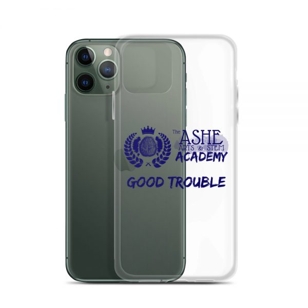 iPhone 11 Pro Blue Good Trouble Clear Phone Case standing in front of the Green iPhone 11 Pro The Ashe Academy Store