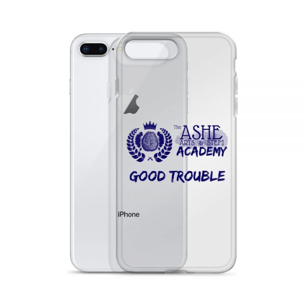 iPhone 7 Plus/8 Plus Blue Good Trouble Clear Phone Case standing in front of the Silver iPhone 7 Plus/8 Plus The Ashe Academy Store