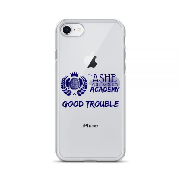 iPhone SE Blue Good Trouble Clear Phone Case on Silver iPhone SE The Ashe Academy Store
