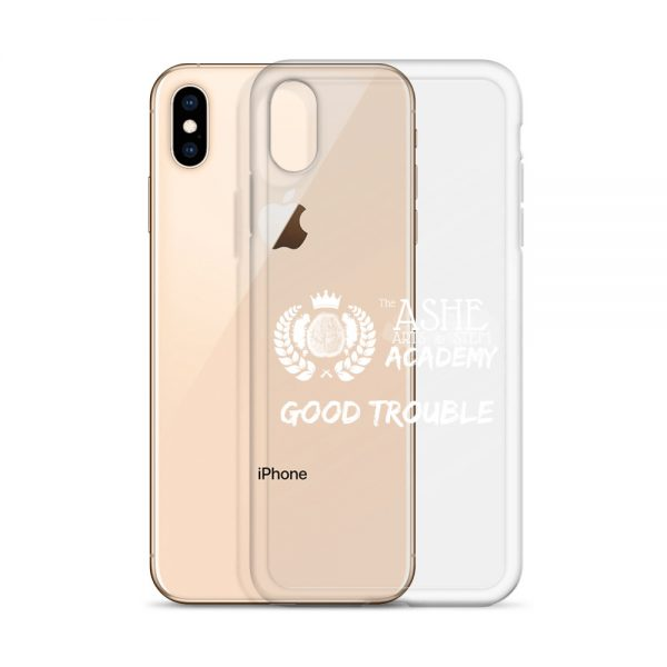 iPhone XS Max White Good Trouble Clear Phone Case standing in front of the Rose Gold iPhone XS Max The Ashe Academy Store
