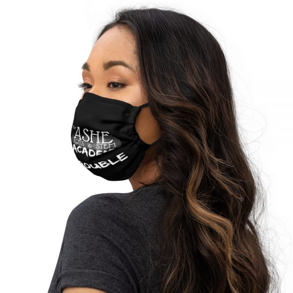 Woman wearing Black Face Mask Left side profitle The Ashe Academy Store
