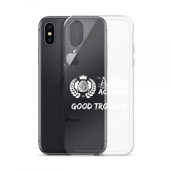 iPhone X/XS White Good Trouble Clear Phone Case standing in front of the Black iPhone X/XS The Ashe Academy Store