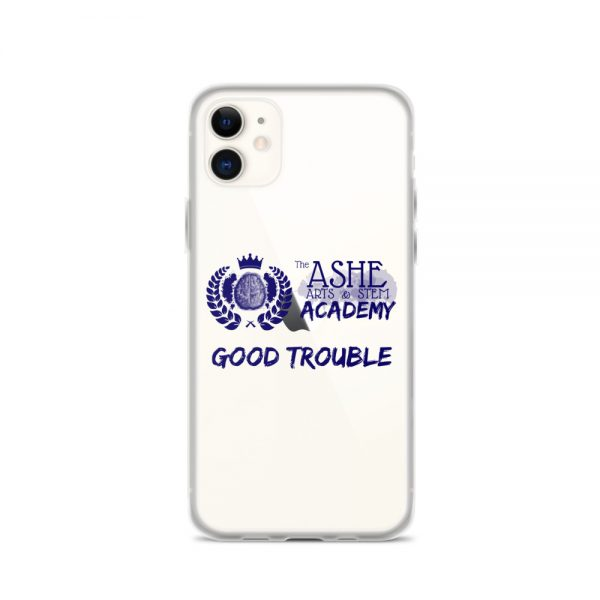 iPhone 11 Blue Good Trouble Clear Phone Case on White Gold iPhone 11 The Ashe Academy Store