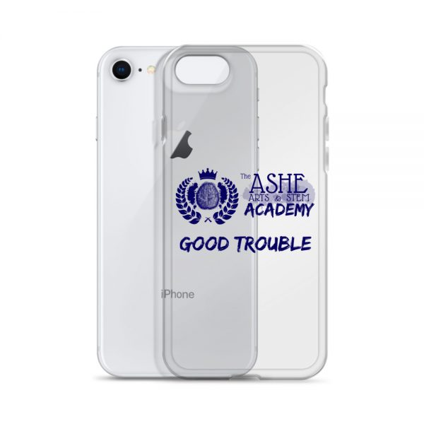 iPhone SE Blue Good Trouble Clear Phone Case standing in front of the Silver iPhone SE The Ashe Academy Store