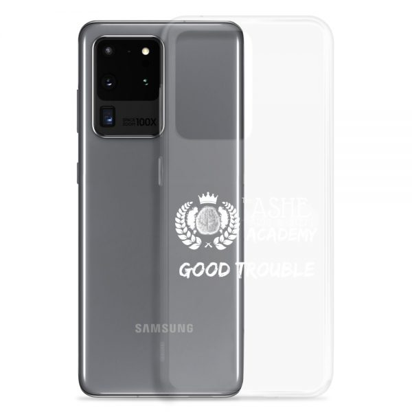 Samsung Galaxy S20 Ultra White Good Trouble Clear Phone Case standing in front of the S20 Ultra The Ashe Academy Store
