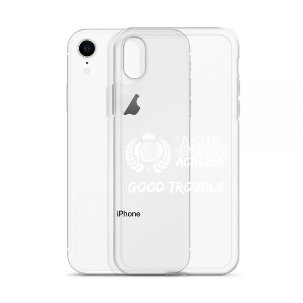 iPhone X/R White Good Trouble Clear Phone Case standing in front of the Silver iPhone XR The Ashe Academy Store