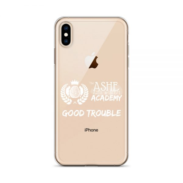 iPhone XS Max White Good Trouble Clear Phone Case on Rose Gold iPhone XS Max The Ashe Academy Store
