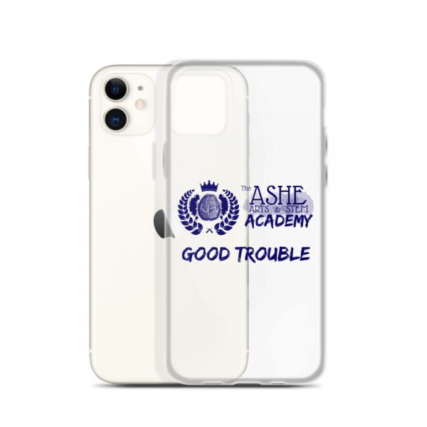 iPhone 11 Blue Good Trouble Clear Phone Case standing in front of the White Gold iPhone 11 The Ashe Academy Store