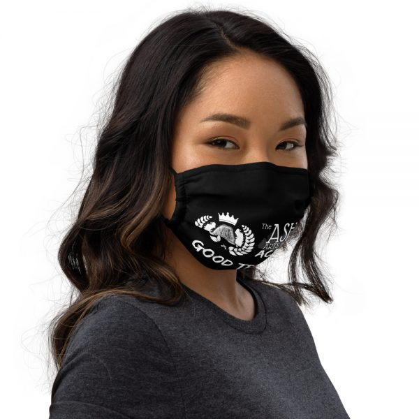 Woman wearing Black Face Mask Right side profile View The Ashe Academy Store