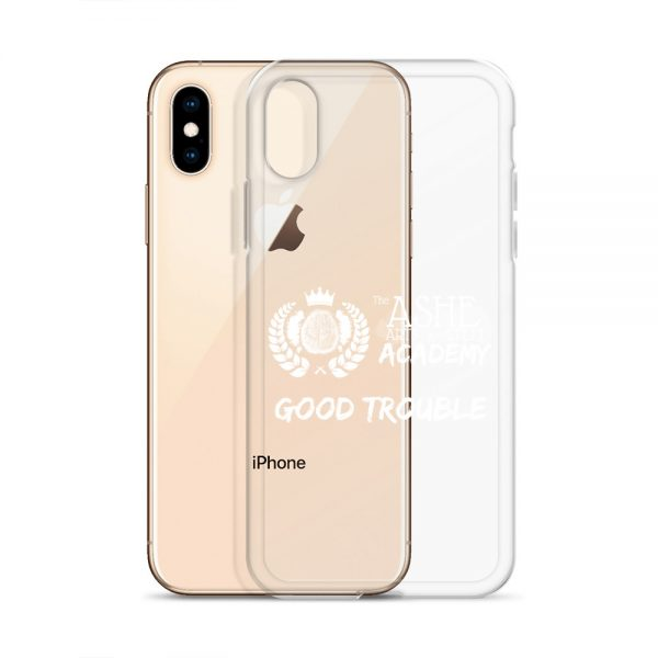 iPhone X/XS White Good Trouble Clear Phone Case standing in front of the Rose Gold iPhone X/XS The Ashe Academy Store