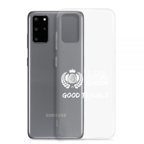 Samsung Galaxy S20 Plus White Good Trouble Clear Phone Case standing in front of the S20 Plus The Ashe Academy Store