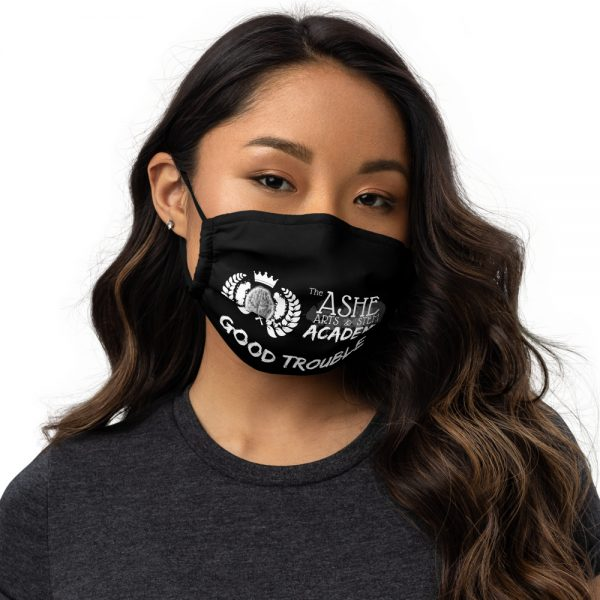 Woman wearing Black Face Mask Front View The Ashe Academy Store