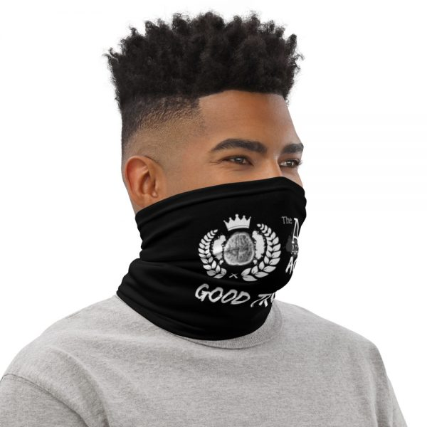 Man wearing Black Neck Gaiter Right side profile The Ashe Academy Store
