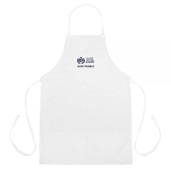 White Good Trouble Apron The Ashe Academy Store