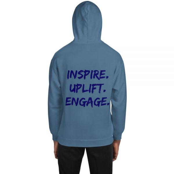 Man wearing Indigo Blue Inspire Uplift Engage Hoodie with hood on back view The Ashe Academy Store
