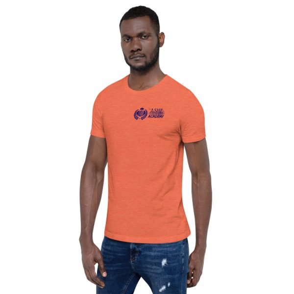 Man wearing Heather Orange short sleeve Social Distancing T-Shirt facing right The Ashe Academy Store