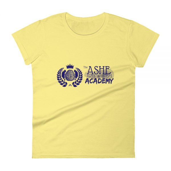 Women's Spring Yellow front view short sleeve Social Distancing T-Shirt The Ashe Academy Store