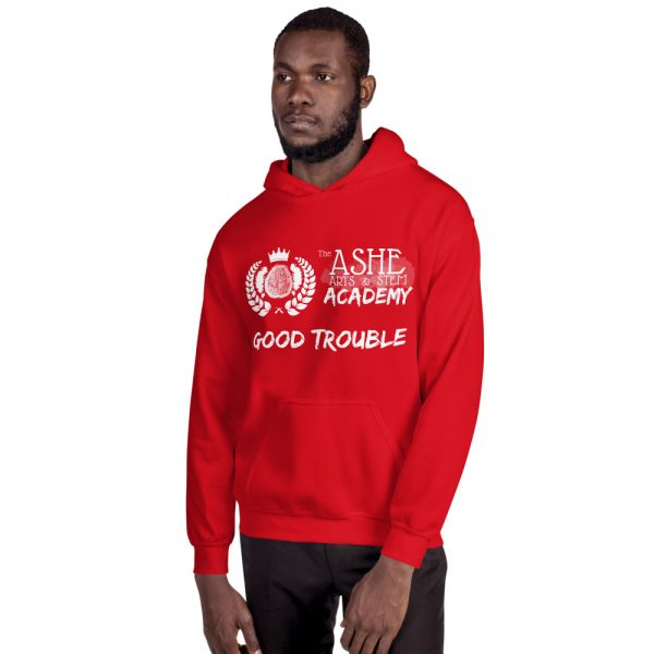 Man wearing Red Good Trouble Hoodie facing right The Ashe Academy Store