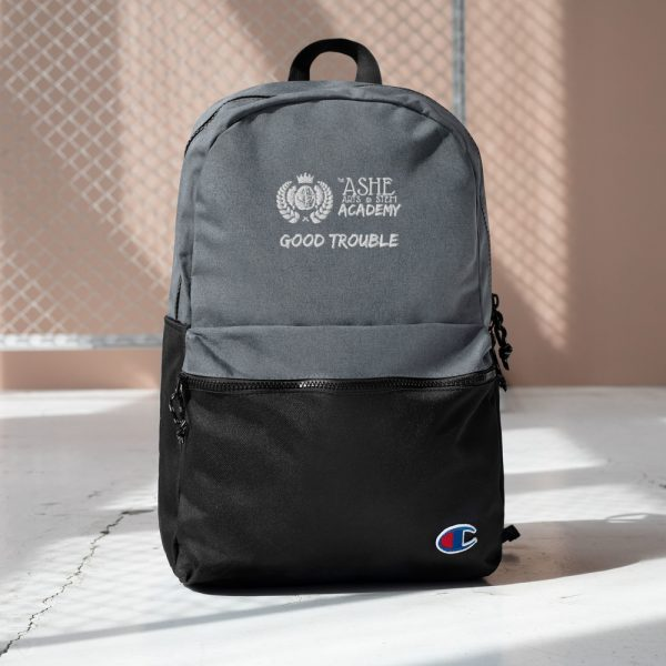 Heather Grey / Black Good Trouble Backpack with background The Ashe Academy Store