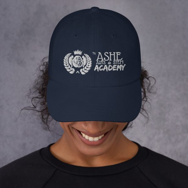 Woman wearing Navy Ballcap front view The Ashe Academy Store