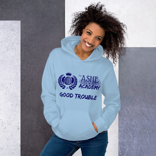 Woman wearing Light Blue Good Trouble Hoodie standing at an angle front view The Ashe Academy Store
