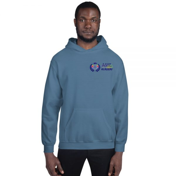 Man wearing Indigo Blue Inspire Uplift Engage Hoodie front view The Ashe Academy Store