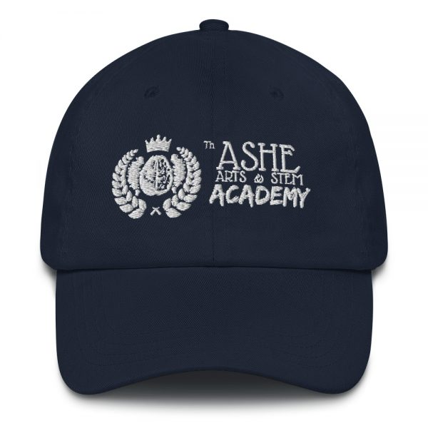 Navy Ballcap close up front view The Ashe Academy Store