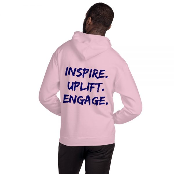 Man wearing Light Pink Inspire Uplift Engage Hoodie with hood off back view The Ashe Academy Store