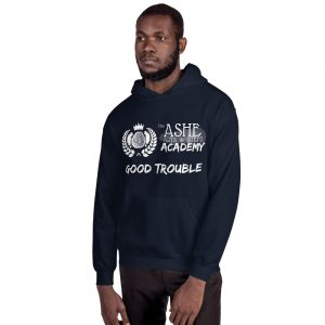Man wearing Navy Good Trouble Hoodie facing right The Ashe Academy Store