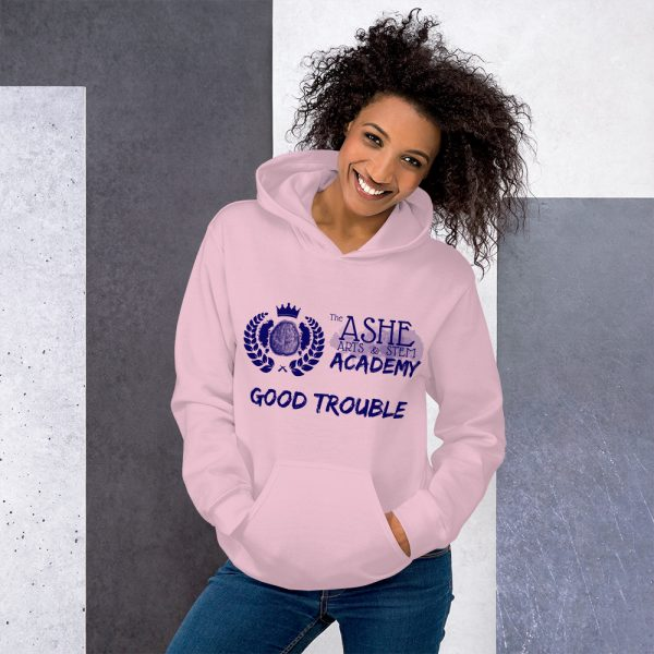 Woman wearing Light Pink Good Trouble Hoodie standing at an angle front view The Ashe Academy Store