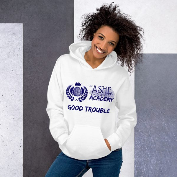 Woman wearing White Good Trouble Hoodie standing at an angle front view The Ashe Academy Store