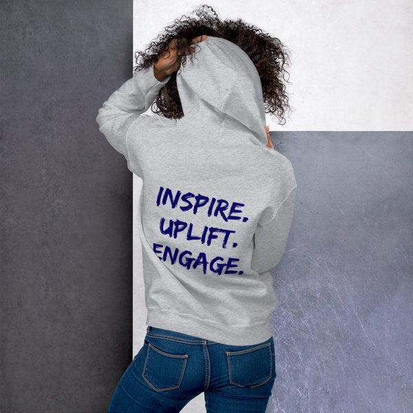 Woman wearing Sport Grey Inspire Uplift Engage Hoodie back view The Ashe Academy Store