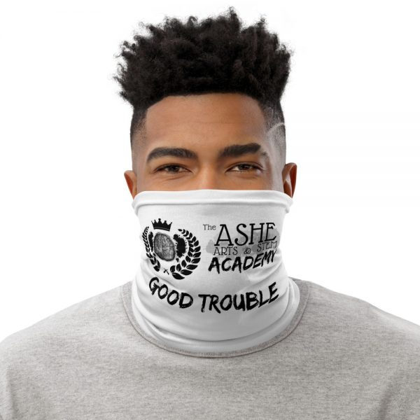 Man wearing White Neck Gaiter Front view The Ashe Academy Store