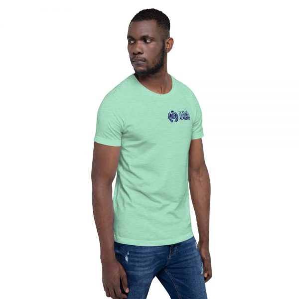 Man wearing Heather Mint short sleeve Social Distancing T-Shirt facing left The Ashe Academy Store
