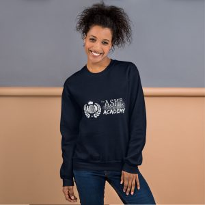 Woman with hair up wearing Navy Sweatshirt standing at an angle front view The Ashe Academy Store