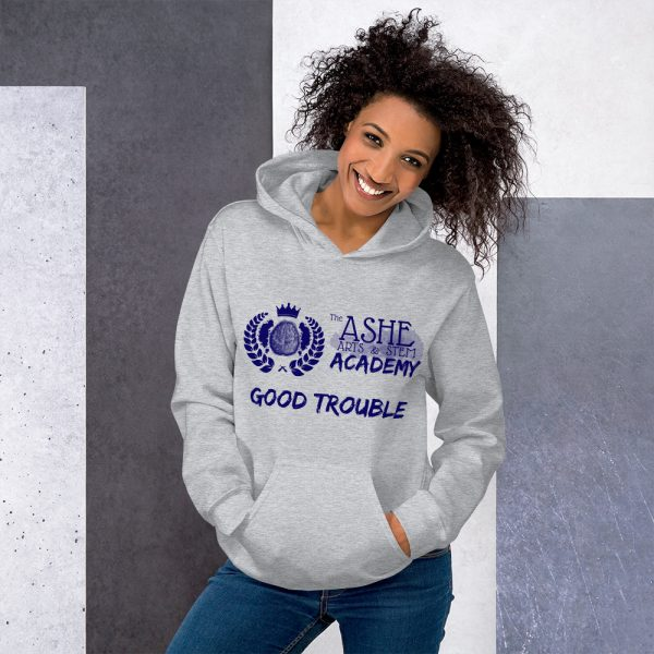 Woman wearing Sport Grey Good Trouble Hoodie standing at an angle front view The Ashe Academy Store
