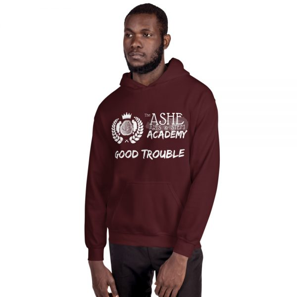 Man wearing Maroon Good Trouble Hoodie facing right The Ashe Academy Store