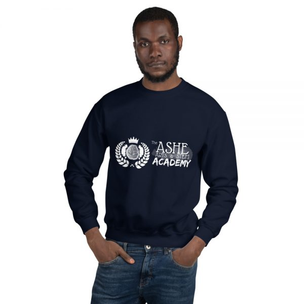 Man wearing Navy Sweatshirt front view The Ashe Academy Store