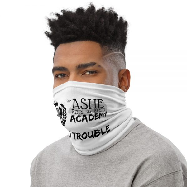 Man wearing White Neck Gaiter Left side profile The Ashe Academy Store