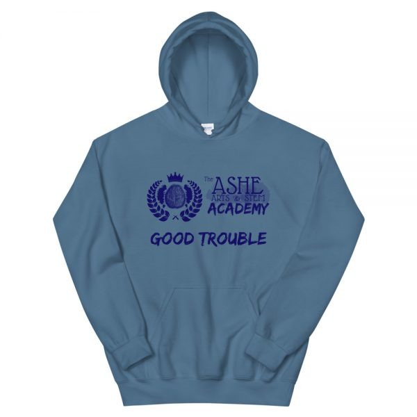 Indigo Blue Good Trouble Hoodie front view The Ashe Academy Store