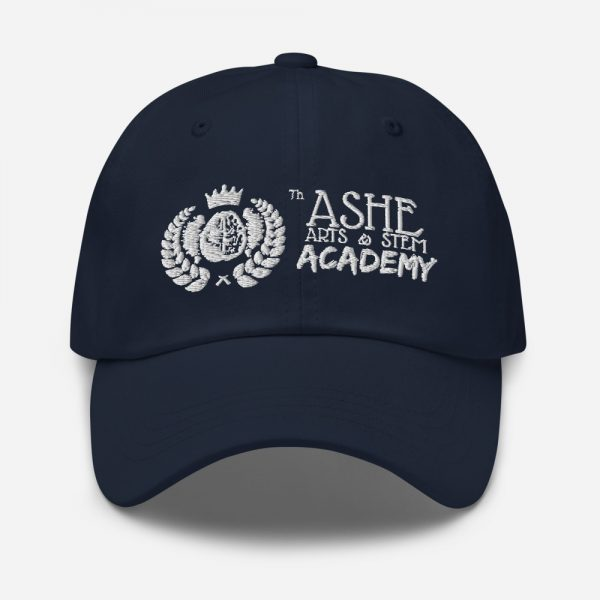 Navy Ballcap front view The Ashe Academy Store