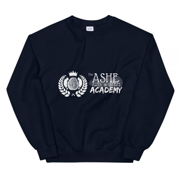 Navy Sweatshirt front view The Ashe Academy Store