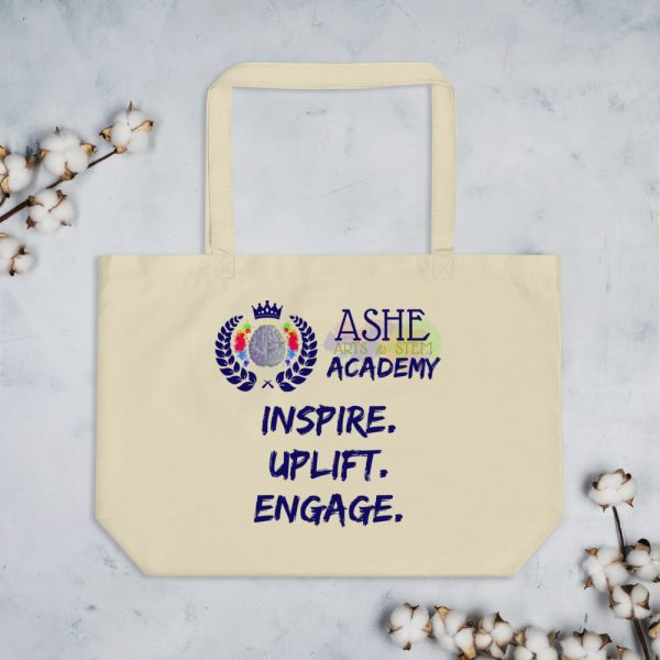 Tan Tote Bag with background The Ashe Academy Store