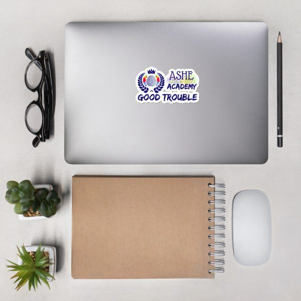 4x4 Good Trouble Sticker on laptop next to eyeglasses The Ashe Academy Store