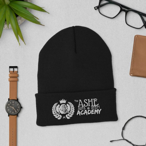 Black Beanie laying down next to watch and eyeglasses The Ashe Academy Store