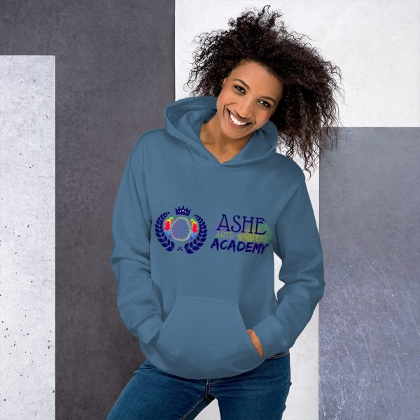 Woman wearing Indigo Blue Inspire Uplift Engage Hoodie standing at an angle front view The Ashe Academy Store